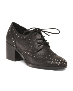 Studded Stacked Heel Oxfords