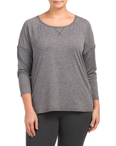 Plus Active Open Back Crew Neck Top