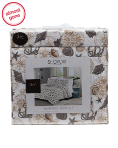 3pc St. Croix Coastal Reversible Quilt Set