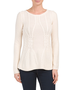 Cabled Peplum Sweater