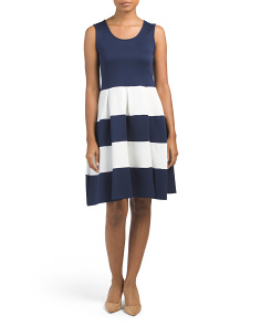 Sleeveless Striped Scuba Fit And Flare Dress