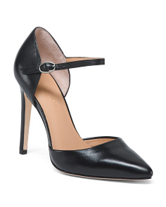 Ankle Strap Pointy Toe Leather Pumps