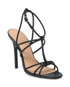 Open Toe Strappy Leather Dress Sandals