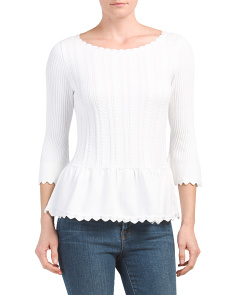 Scalloped Petal Peplum Sweater