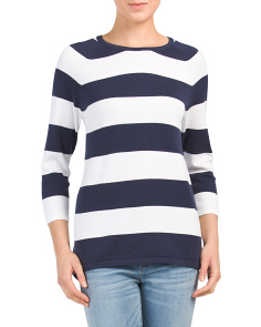 Striped Hi-lo Pullover Sweater