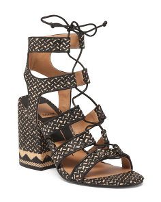 Raffia Lace Up Sandals