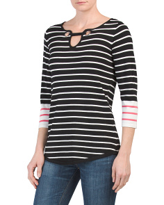 Striped Grommet Neck Sweater