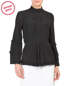 Banded Mock Neck Tiered Ruffle Blouse