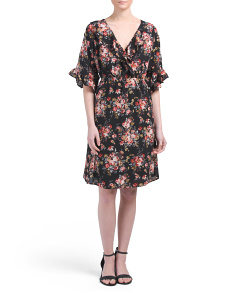 Petite Floral Faux Wrap Dress