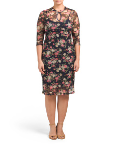 Plus Juniors Mesh Floral Dress