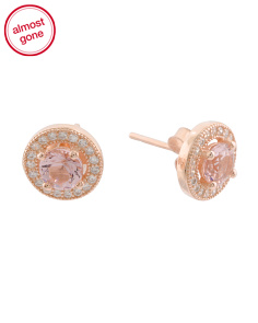 Rose Gold Plated Sterling Silver Cubic Zirconia 5mm Halo Stud Earrings