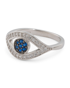 Sterling Silver Blue Spinel And CZ Evil Eye Ring
