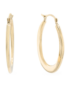 Made In Israel 14k Gold Oval Hoop Earrings