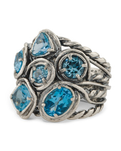 Made In Israel Sterling Silver Blue Topaz Multi Cut Ring