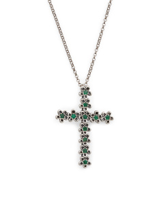 Made In Israel Sterling Silver Emerald Flower Cross Necklace
