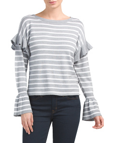 Striped Ruffle Sleeve Pullover Top