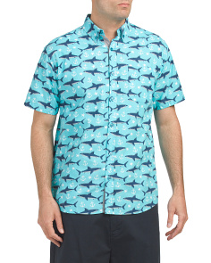 Short Sleeve Poplin Shark Print Shirt