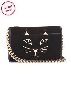 Made In Italy Cat Suede Clutch