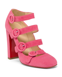 Made In Italy Buckle Strap Suede Heels