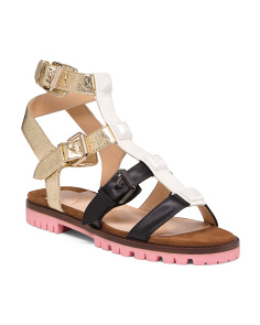 Made In Italy Leather Gladiator Sandals
