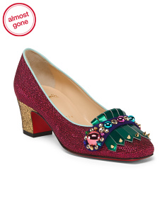 Made In Italy Embellished Glitter Pumps