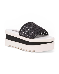 Made In Spain Woven Platform Slides