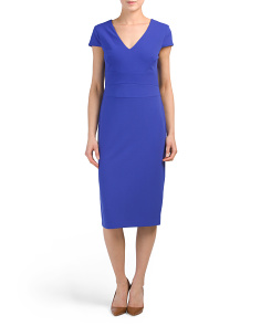 Cap Sleeve V-neck Midi Dress
