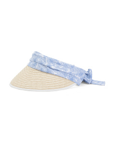 Straw Visor With Floral Tie Bow