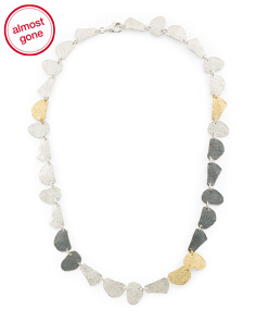 Made In Israel Sterling Silver Multi Tone Necklace