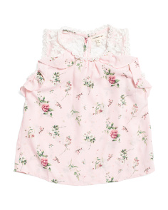 Girls Floral Ruffle Top With Lace