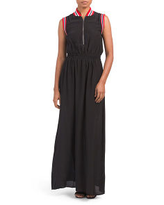 Sleeveless Bomber Style Maxi Dress