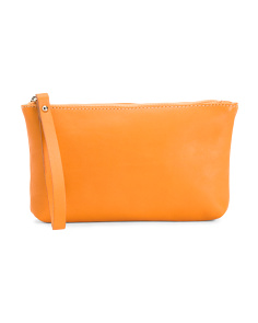 Made In Italy Leather Small Zip Pouch