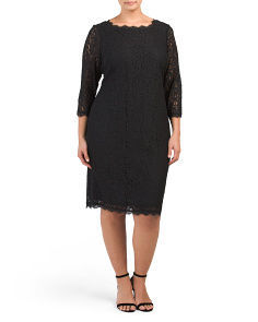 Plus Lace Overlay Dress