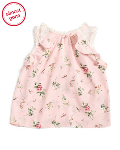 Little Girls Floral Ruffle Top With Lace