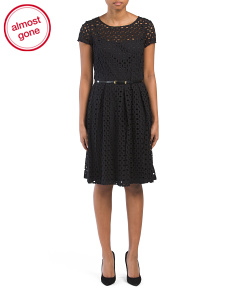 Belted Eyelet Dress With Lining