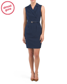 Belted V Neck Sheath Dress