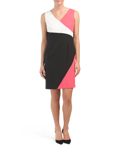 Sleeveless Color Block Crepe Dress
