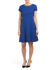 Embellished Neckline Pique Dress