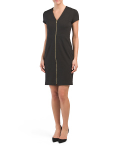 V-neck Zip Front Dress