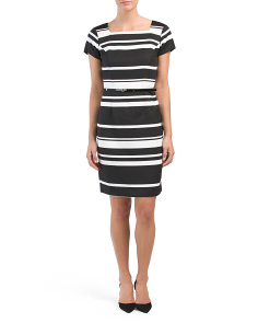 Pique Striped Belted Dress