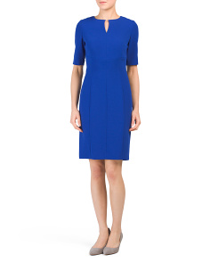 Elbow Sleeve Seamed Dress