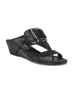 Buckle Wedge Leather Sandals