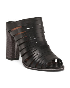 Cage Heel Covered Leather Sandals