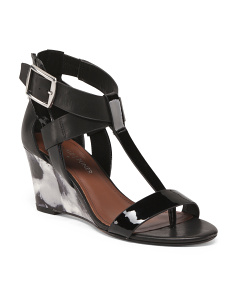 T Strap Wedge Sandals