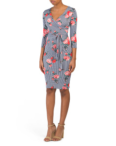 Juniors Made In USA Printed Wrap Dress