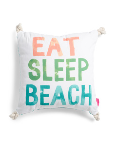 20x20 Indoor Outdoor Eat Sleep Beach Pillow