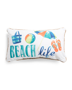14x24 Indoor Outdoor Beach Life Reversible Pillow