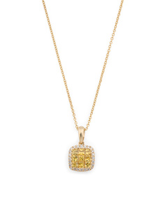 14k Gold Yellow Sapphire And Diamond Square Necklace
