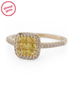 14k Gold Yellow Sapphire And Diamond Square Ring