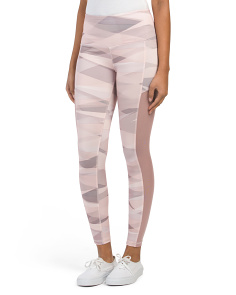 Muted Print Leggings With Power Mesh